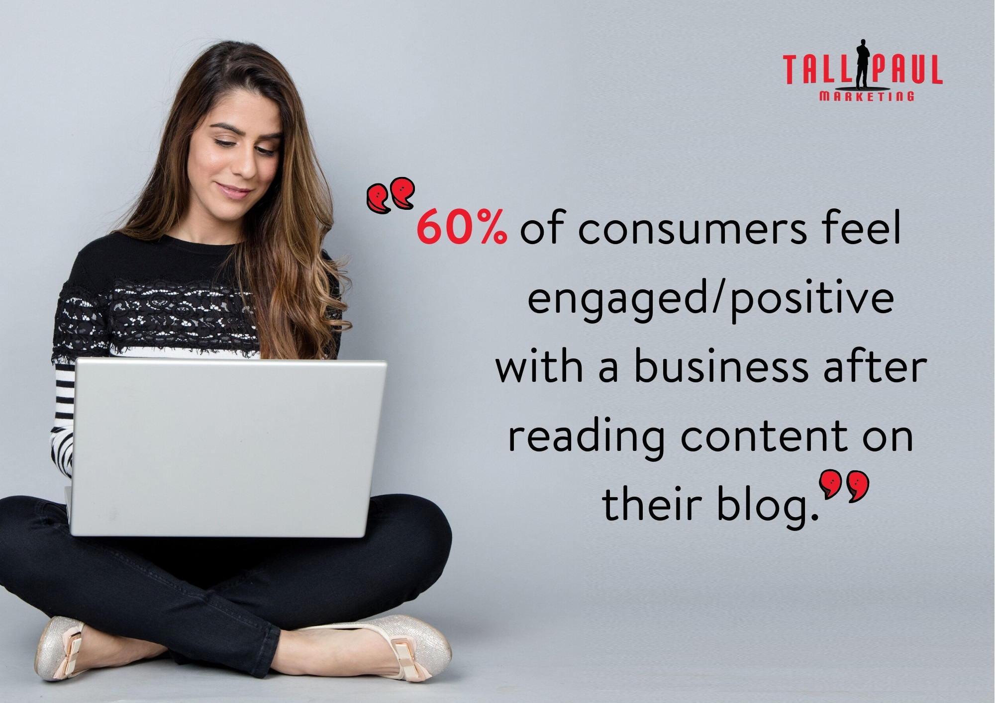 60% of consumers feel engaged/positive after reading blog content - Tall Paul Marketing - NI Copywriter