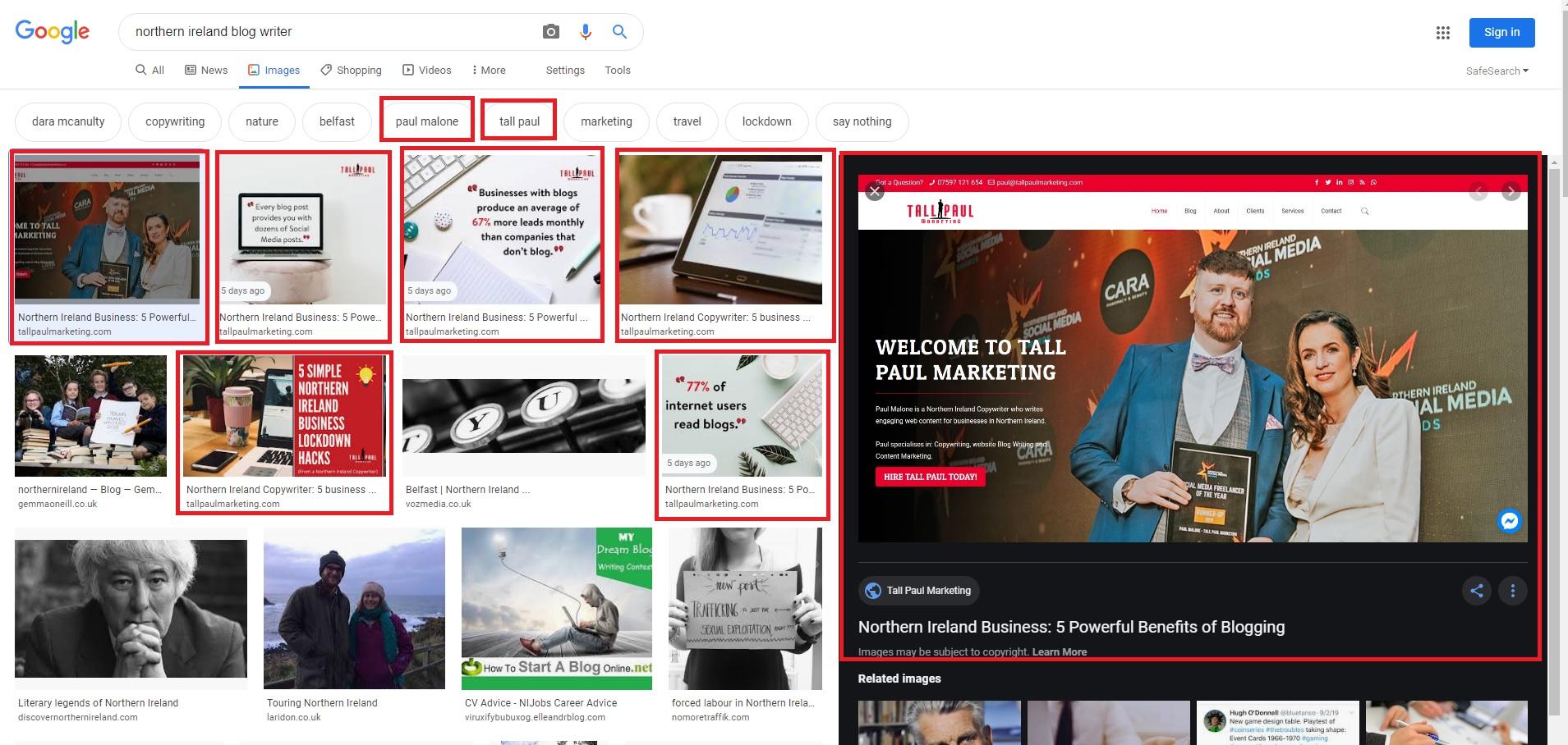 Business blogging helps improve your Google search ranking - Tall Paul Marketing - NI freelance Copywriter