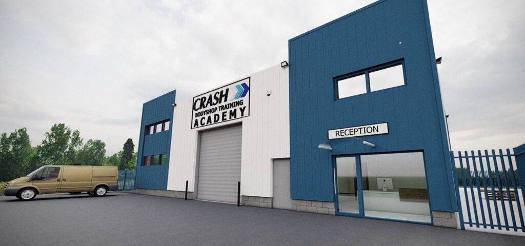 "exterior building entrance CRASH Training Academy - car lift canteen and main office - CRASH Bodyshop Training Academy aims to ""plug Northern Ireland skills gap"" - NI business news - Freelance Copywriter"