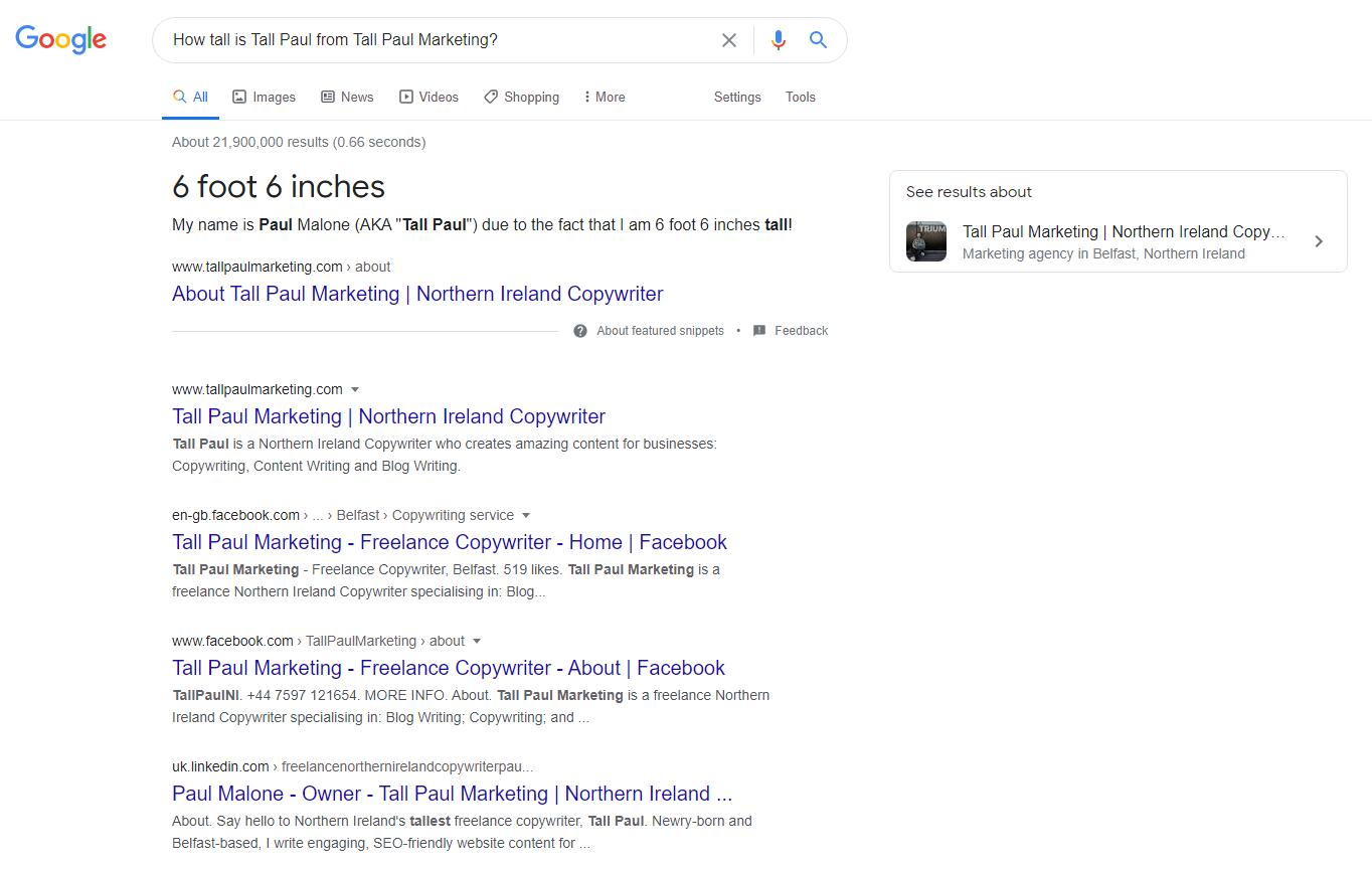 How tall is Tall Paul from Tall Paul Marketing? 6ft6 - NI tallest freelance copywriter - Digital Marketing NI
