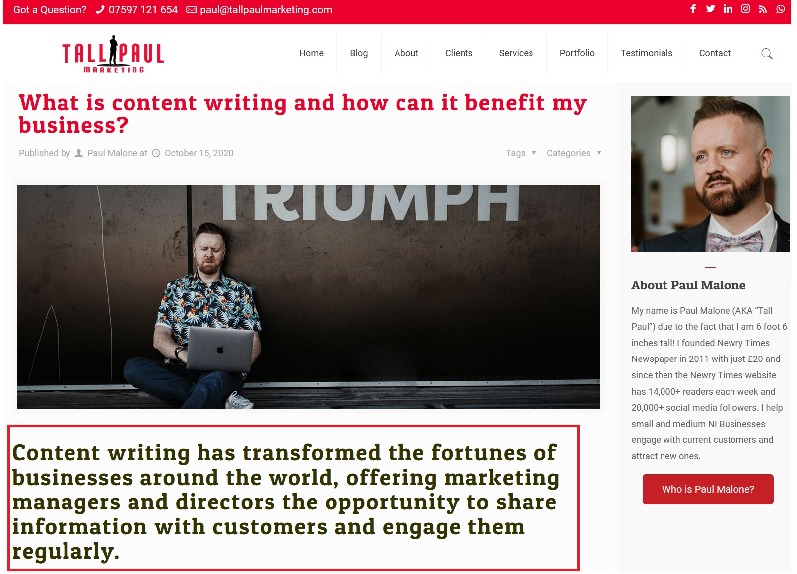 H1 headings on blog posts to imrpove SEO - Web content writer Northern Ireland