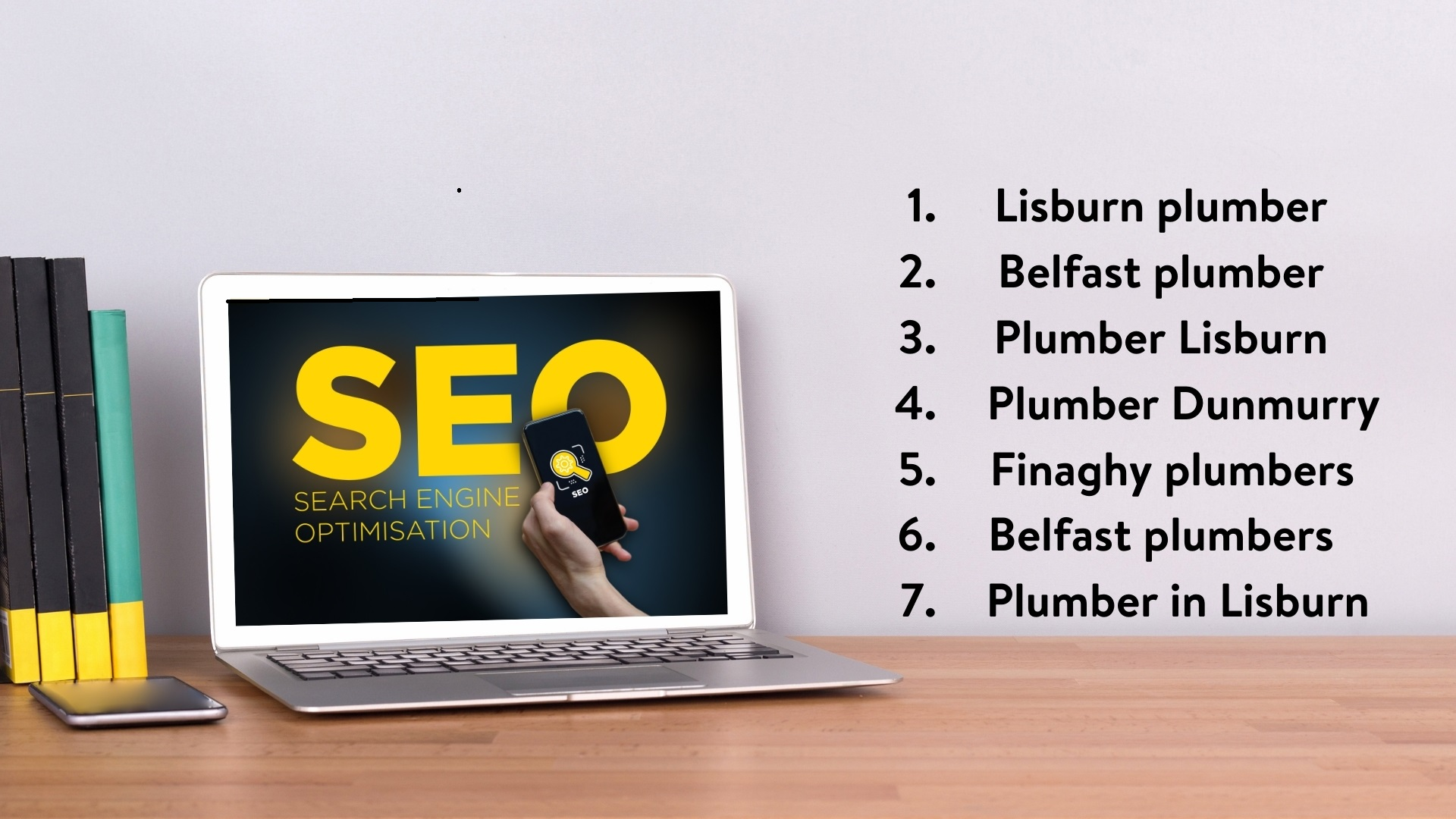 Use keywords and key phrases throughout your content to search engine optimise - Website content writer Northern Ireland