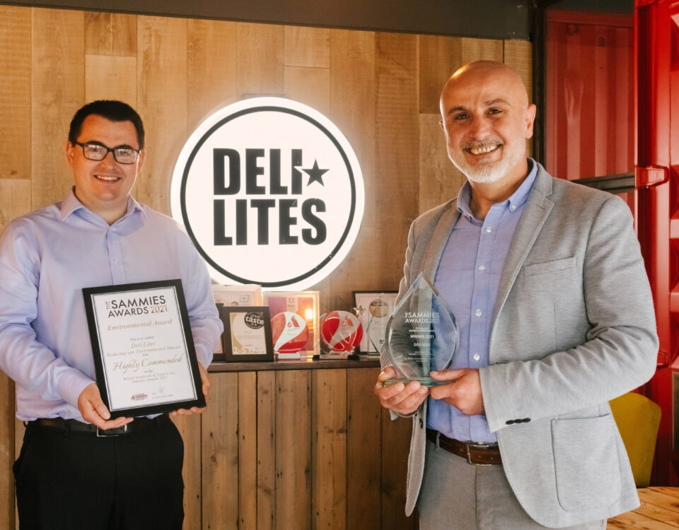 Deli Lites Wins Manufacturer of the Year at UK Sammies Awards - L-R - Cathal McDonnell with Ricky Hanbay - ni business news - belfast copywriter