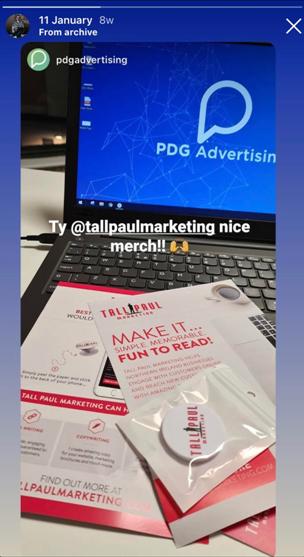 Mailshot Marketing campaign - Tall Paul Marketing branded pop socket - freelance copywriter