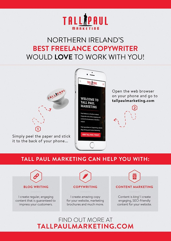 Mailshot campaign example, tall paul marketing - content marketing belfast