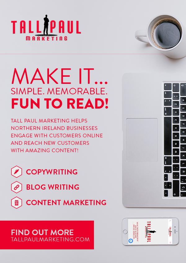 Freelance NI copywriter tall paul marketing a5 flyer - Direct Mail Marketing