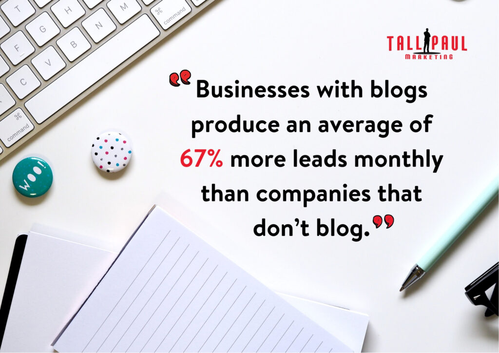 How to use a business blog to increase traffic to your website - Businesses with blogs produce an average of 67% more leads monthly than companies that don't blog - Northern Ireland Copywriter