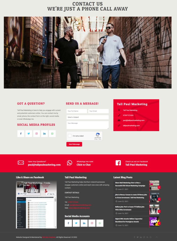 Tall Paul Marketing website - contact us page - web content writer belfast - copywriting service