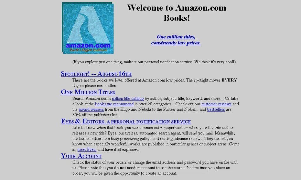 The Amazon website in 1995