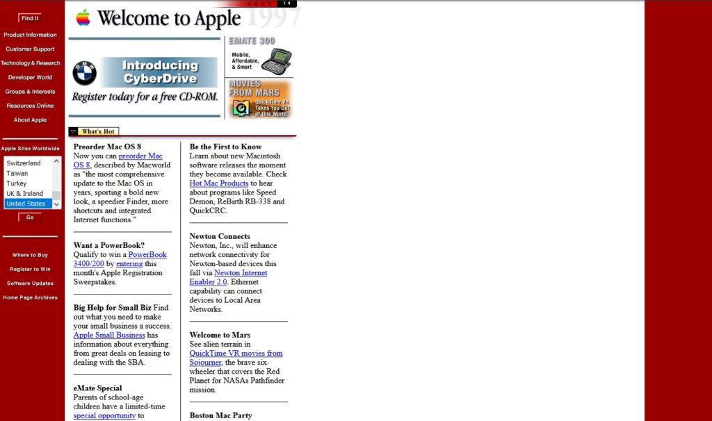 The Apple website in 1997