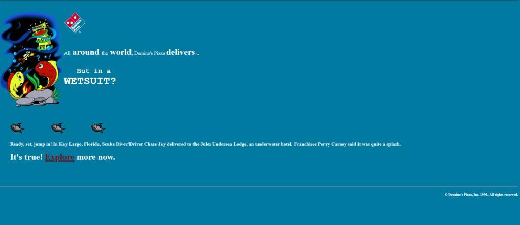 The Dominos website in 1996