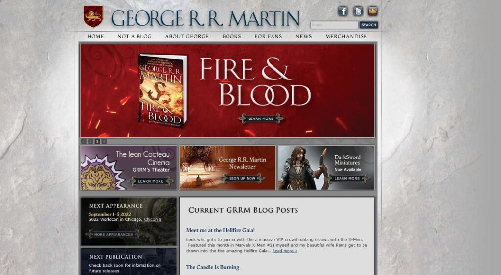 The George RR Martin website in 2021