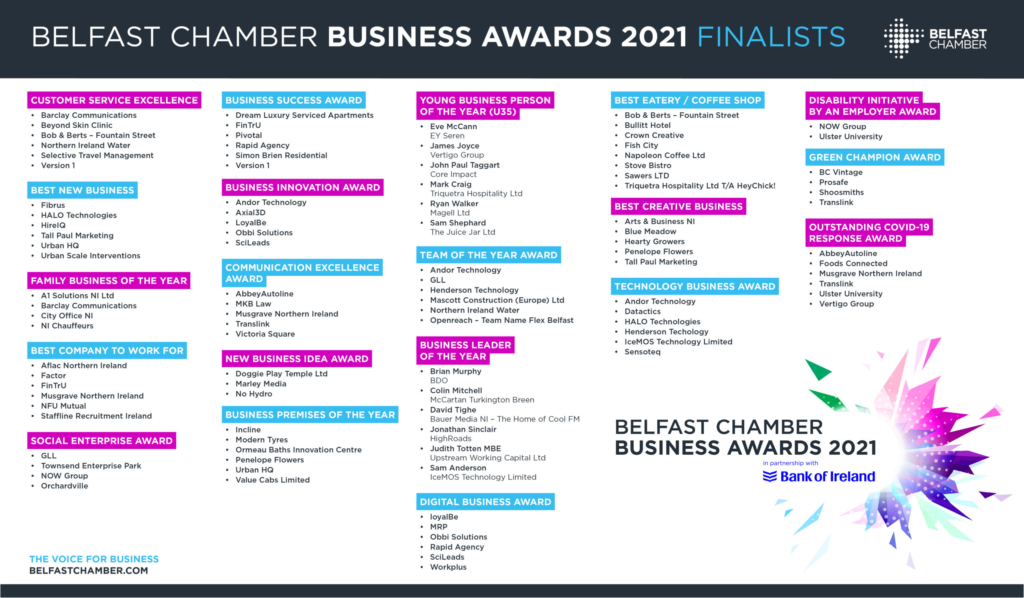Belfast Business Awards 2021 finalists - Ireland Copywriter Paul Malone Announced As a Finalist in 2 Categories - copywriter belfast